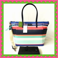 """Authentic Kate Spade Multi Color Diaper Bag % AUTHENTIC ✨ Very pretty and large multicolor diaper bag from Kate Spade ♠️ Length 19 1/2"""" Height 12"""" Width 7 1/2"""" with 4 pockets inside and 2 side exterior compartment. Yellow gold tone hardware. Changing pad and long strap included. New with tag. NO TRADE  kate spade Bags Baby Bags"""