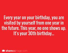 Every year on your birthday, you are visited by yourself from one year in the future.  This year, no one shows up.  It's your 30th birthday...