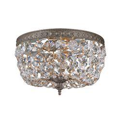 Crystorama 710-EB-CL-I 2 Light Clear Italian Crystal Bronze Ceiling Mount