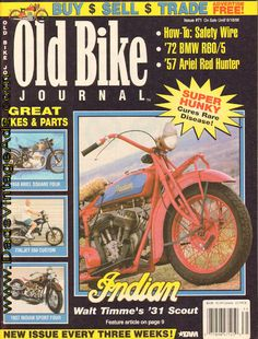 Cover Story: The Project - Walt Timme's 1931 Indian 101 Scout just refused to die; Features: On the Road Again - a BMW rider's voyage; How to safety-wire your motorcycle; more Complete, vintage motorcycle magazine. Vintage Indian Motorcycles, Red Hunter, Buy Sell Trade, Old Bikes, The Cure, Bmw, Bobber, Ariel, Magazines