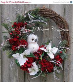 Christmas Wreath, Holiday Wreath, Owl, Woodland, Poinsettia Wreath, Designer Holiday Wreath, Elegant Christmas Wreath
