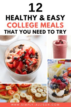 Here are 12 mouthwatering college breakfast ideas that you can make in your college dorm. These are easy healthy college breskfast that taste good. Healthy Dorm Snacks, Healthy College Meals, Quick Healthy Breakfast, Healthy Breakfasts, Healthy Recipes, College Recipes, College Hacks, Healthy Meals, Easy Meals
