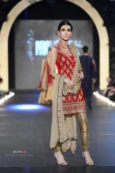 Red churidar by Asifa & Nabeel at PFDC Bridal Week 2013