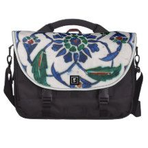 Blue and white floral Ottoman era tile design Laptop Commuter Bag