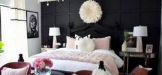 Bed and Bath - HomeGoods Pink Black Bedrooms, Black Bedroom Decor, Bedroom Ideas, Bedroom Retreat, Dream Bedroom, Small Space Bedroom, Small Spaces, Summer Bedroom, Pink Houses