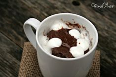 Hot Chocolate {mug} Brownie - Heather's French Press  This is so good!!!  2 packets of hot chocolate mix 4 tbs flour 3 tbs water 2 tbs melted butter 1/2 tsp vanilla Microwave for 45 seconds and enjoy!
