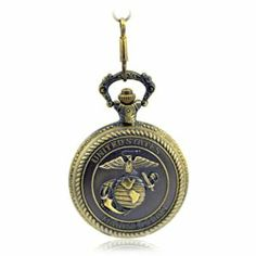 United States Marine Corps Men'S Alloy Quartz Pocket Watch Brass Tone Pw043 With Gift Box Armel. $21.99