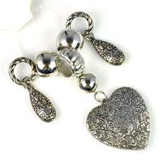 Jewellery Scarf Heart Pendant Sets, Pendant + Beads + Tubes, PT-626