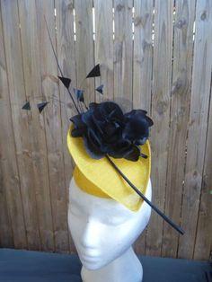 Yellow and Black sinamay Fascinator TINA WHITE (WHITEBEA MILLINERY) #millinery #hats #HatAcademy