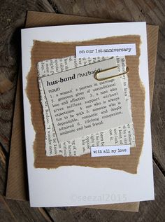 1st Anniversary Card Husband. Paper. Paper Wedding Anniversary Gift