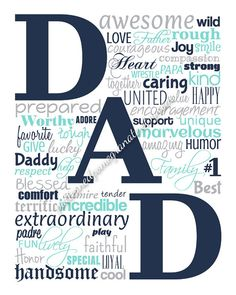 DAD Typography Printable Sign, Gift for Dad, Instant Download Word Art Poster