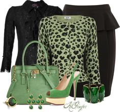 """Vienna"" by kginger on Polyvore - love the sweater & green color combo"