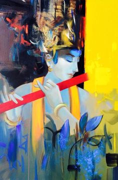 New Painting Aesthetic Man Ideas - Painting Krishna Painting, Krishna Art, Shree Krishna, Lord Krishna, Shiva, Indian Art Paintings, Modern Art Paintings, Oil Paintings, Landscape Paintings