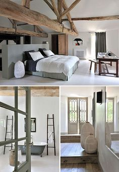 holiday home in the south west of france Natural slightly whitened wood, white walls and some green of grey touches… perfect for this south west of France home. Style At Home, Home Interior, Interior Design, Interior Colors, Interior Ideas, Suites, White Walls, White Wood, White Beams