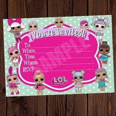 LOL Surprise Doll Printable Invite. Lol surprise doll invitations. Blank Fill it out yourself Instant Download Jpeg No waiting! 5X7  Bio In Lin  #lolsurprisedoll #lolsurprisedollinvite #lolsurprisedollinvitation #zarleeluxcreations #lolsuprisedollinvitations #lolsurprisedolls #etsy #blankfilloutyourselfinvite #girlparty #girlsbirthdayparty  #instantdownload #printableinvite #lolsurprisedollprintable #LOL #dolls #lolsurprise #girlsparty