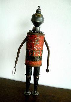 """""""FireHero"""" Assemblage Robot Sculpture"""