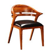 "Rosewood and black leather  32"" high     Found it at Wayfair - Salerno Side Chair"