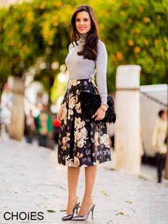 Black Floral Print Pleated Midi Skirt | Choies