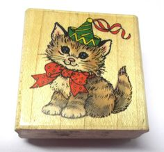 Rare Penny Black Party Kitty rubber stamp baby cat in hat bow wood mounted 90s #PennyBlack #Kittens