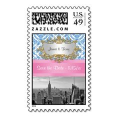 NY City SkylineBW D42 Save the Date Stamps