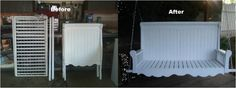 Porch Swing Project - Repurpose a baby crib. Great weekend or DIY project. Outdoor painted furniture.
