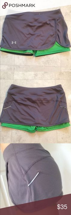 Under Armour running skirt Gray miniskirt with neon green/yellow small polka dot bike shorts.  The tag says SM/P so I am assuming S but this is pretty short.  100% polyester.  Very nice eye catching workout outfit!!!!! Under Armour Skirts
