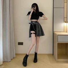 Punk Style Plaid Irregular Skirts Gothic Women Hollowed Out High Waist Egirl Fashion, Korean Girl Fashion, Plaid Fashion, Ulzzang Fashion, Korean Street Fashion, Kpop Fashion Outfits, Korean Outfits, Cute Casual Outfits, Pretty Outfits