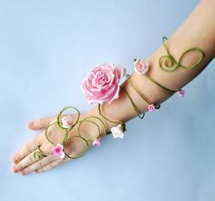 pink rose and buds long flower and vine fairy arm cuffs, slave bracelet wedding bride, bridesmaids, flower girls whimsical woodland style
