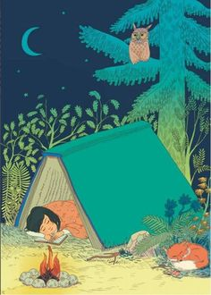 A night in a book tent under the stars. Illustration by Marie Caudry. Reading Art, I Love Reading, Reading Books, I Love Books, My Books, Book Art, World Of Books, Book Nooks, Book Of Life