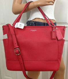 b1e6038b9d7d Nwt coach pink red baby diaper saffiano leather tote laptop crossbody bag  purse