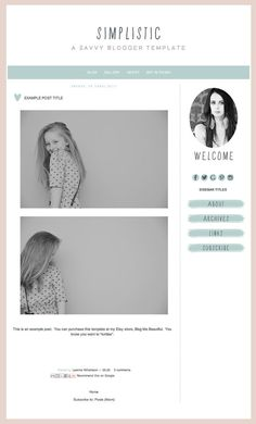 "Blogger Template inc. Blog Elements and XML ""Simplistic"" / Simple Template / Mint and Grey / Elegant Blog / Chic Blog Skin"
