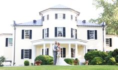 Oatlands Historic House & Gardens- Can you believe that's the back of the house?! bride and groom portrait; greek revival mansion; Virginia plantation; Kintz Photography.