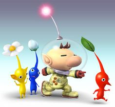 Goodness! Captain Olimar joins the fray with five colors of Pikmin in tow! He plucks Pikmin from the ground and they fight as his allies.