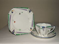 SHELLEY ART DECO QUEEN ANNE FLASHES & FLOWERS TEA TRIO TRULY STUNNING #Trios