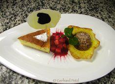baked camembert cheese cake, chocolate-truffle lolly, marinated strawberries