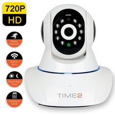 Time2 Rotating HD IP Surveillance Camera Wi-Fi Microphone The Time2 Wi-Fi IP Camera makes it easy to watch your kids, elderly parents, or pets wirelessly on your smartphone or tablet at anytime, anywhere. Simply download the free app to your mobile device and you're ready to go. The two way audio lets you listen and speak. Continuous view in day/night using the built in IR LED's for up to 10m.