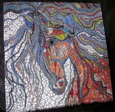 SOLD  Psychedelic Stallion  Stained Glass Mosaic by MosaicMishmash, $875.00