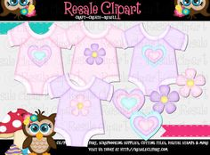 Baby Girl Clothes 1 Clipart Digital File Download by MaddieZee, $2.50