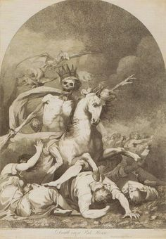 Death riding a Pale horse being followed by Hell by John Hamilton Mortimer.