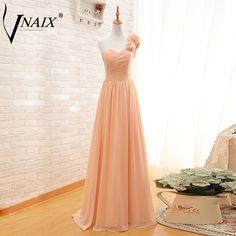 Vnaix E1031 Vestido De Noche One Shoulder With Flowers and Pleat Long Chiffon Lace Up Baxk Evening Dresses Formal