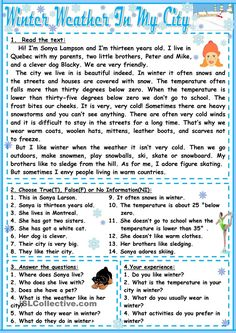 Winter weather in my city - English ESL Worksheets Reading Comprehension Activities, Reading Worksheets, Reading Passages, Printable Worksheets, English Exam, English Lessons, Learn English, Mini Reading, English Reading