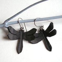 Dragonfly Silhouette Earrings - eco friendly recycled bike inner tube - black dragonflies