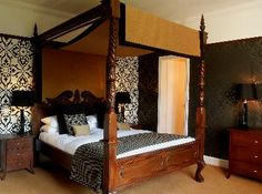 Four poster room at Duisdale House Hotel, Isle of Skye