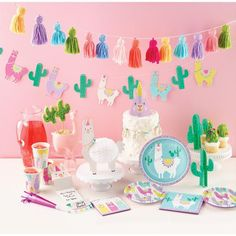 Have a llama fun at your next party with our Llama party line! This adorable llama cactus banner is the perfect accent to your fiesta, llama and cactus party decor! Fiesta Party Decorations, Party Centerpieces, Birthday Party Decorations, Party Themes, Party Favors, Party Ideas, Party Napkins, Party Plates, Party Cups