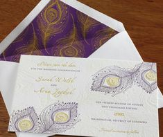 A peacock inspired letterpress save the date card with an envelope liner to compliment the feather design. Parikha | Invitations by Ajalon | www.invitationsbyajalon.com