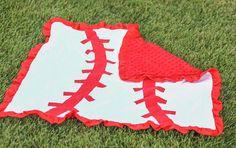 Red White Baseball Minky Blanket