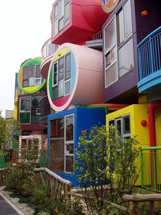 "Coloured apartments, Tokyo.  The interior is designed so that people can experience body-activating slopes and bumps, a contrary condition to the world trend of structure. Residents will even be given instruction for use. The architect's creation is based on a theory called ""Reversible Destiny"" which aims to change the mortal destiny of human beings through interaction with our surroundings. This innovative idea raises the question to the attitude of pursuing comfort blindly."