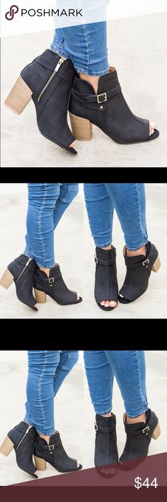 "Black Pinholes Buckle Heel Bootie PRODUCT DETAILS Approx 3.5"" chunky heel Pinhole style Peep toe Runs true to size Shoes Ankle Boots & Booties"