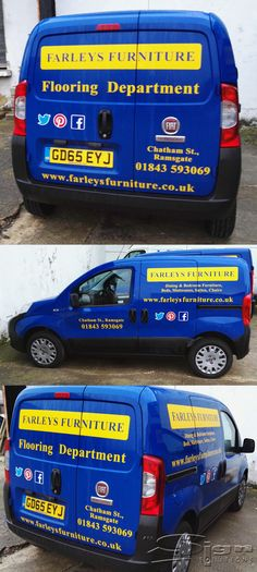 900eed0387 Farleys Furniture van livery. The yellow vinyl stands out on the blue van.  We