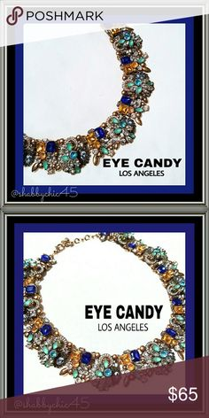 Eye Candy LA Ivy Collection Bib Necklace FIRM NWOT Multilayered in antiqued gold tone finish this necklace bursts style and pizzazz! Adorned with royal blue,  golden yellow, light teal, and sparkling clear crystals, this beauty is a true show stopper! Retails online for $109! PRICE IS FIRM! NO OFFERS ACCEPTED! Eye Candy Los Angeles  Jewelry Necklaces